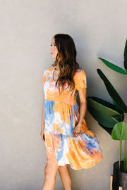Tiered Tie Dye Dress In Orange & Blue