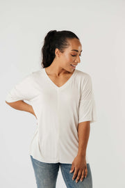 Top Stitch V-Neck In Off-White