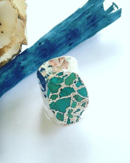 Turquoise Hammered Metal Ring