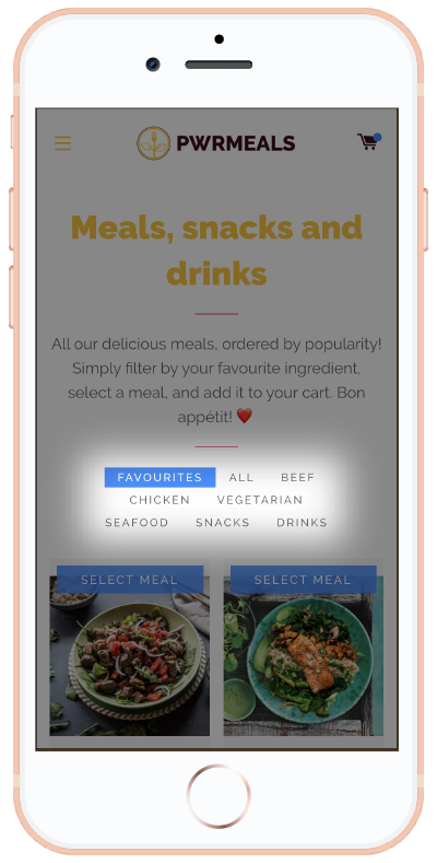 Meal filters on build your own page