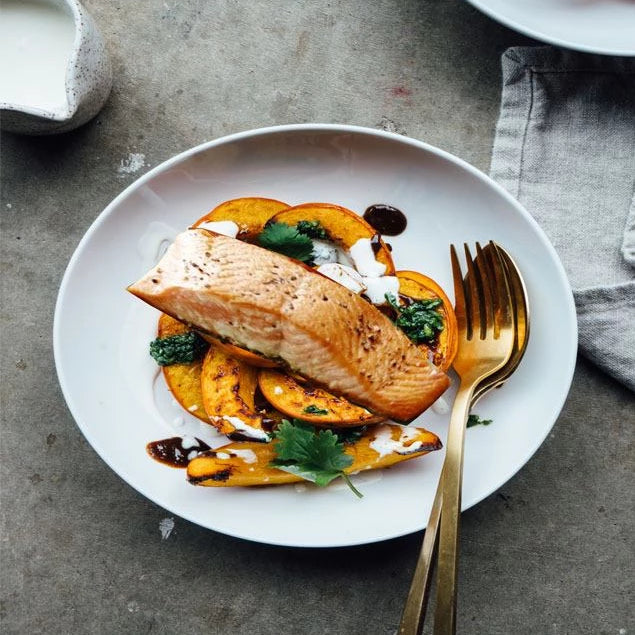 Salmon and Roasted pumpkin with garlic honey butter sauce (400g)