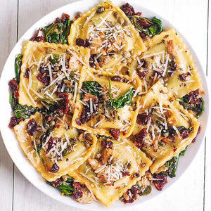 Spinach & Ricotta Ravioli with Sundried tomato sauce