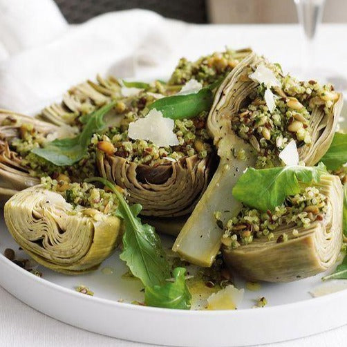 Baked artichokes with quinoa