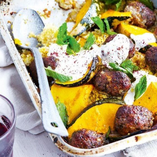 Roast beef kafta with pumpkin & couscous