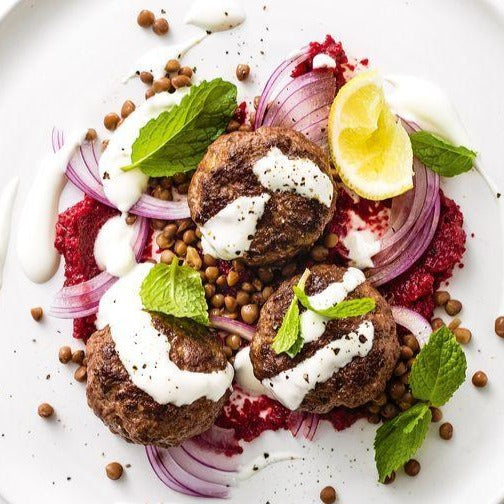 Beef sausages with lentils & beetroot relish