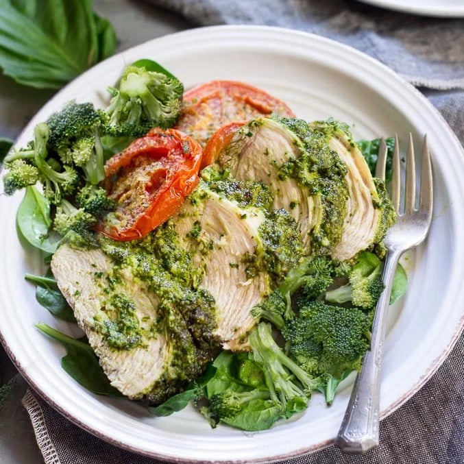 Chicken Basil Pesto with Broccoli and Sweet Potato