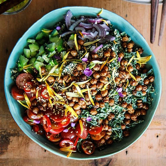 Kale and Chickpea Salad with Honey Mustard Dressing