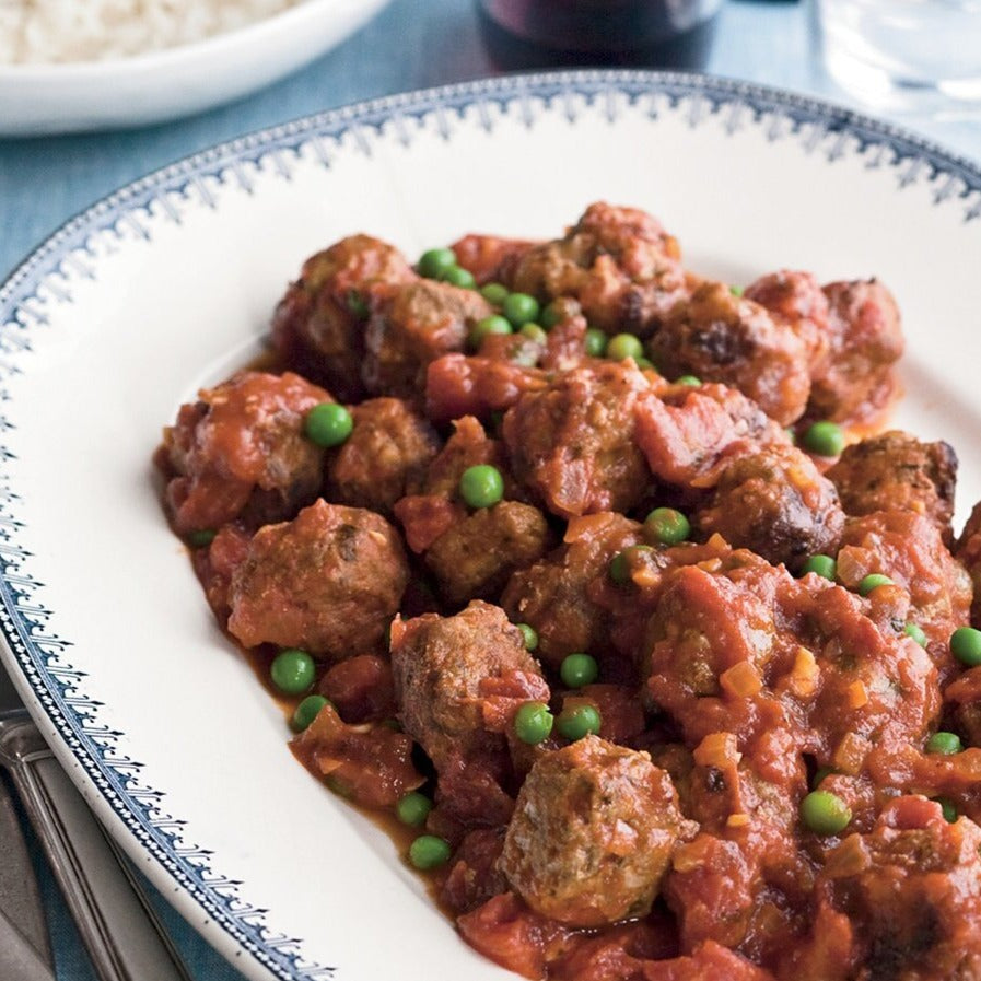 Meatballs with peas & sweet potato