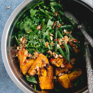 Roast pumpkin with green beans and cashew