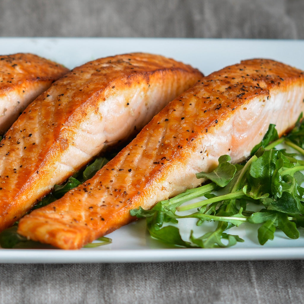 Baked salmon portions