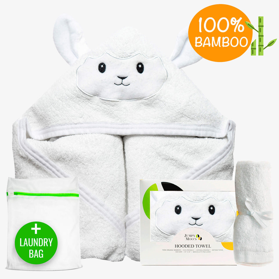 Baby Hooded Towel Set - Happy Elephant (Includes Washcloth & Laundry Bag) - Jumpy Moo's Inc.