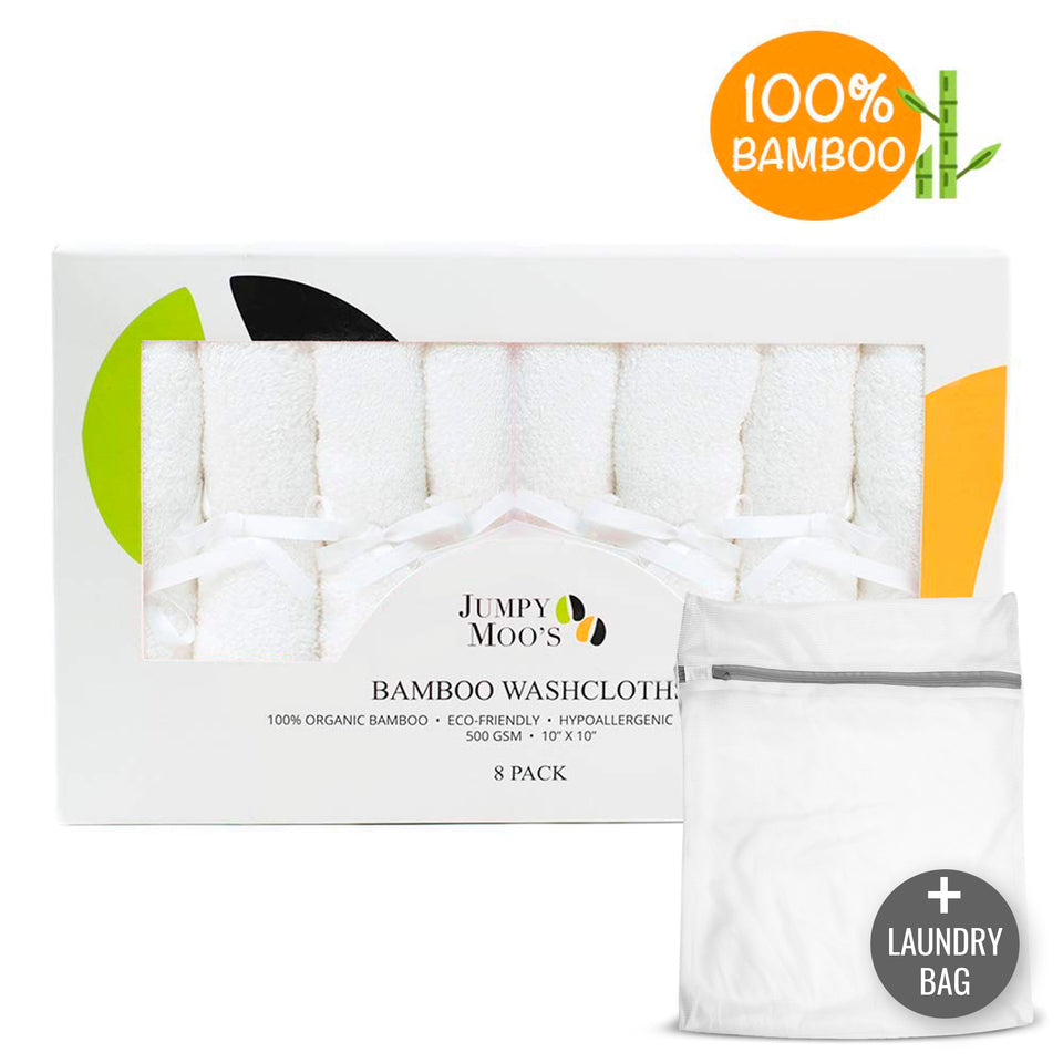 White color washcloths with laundry bag