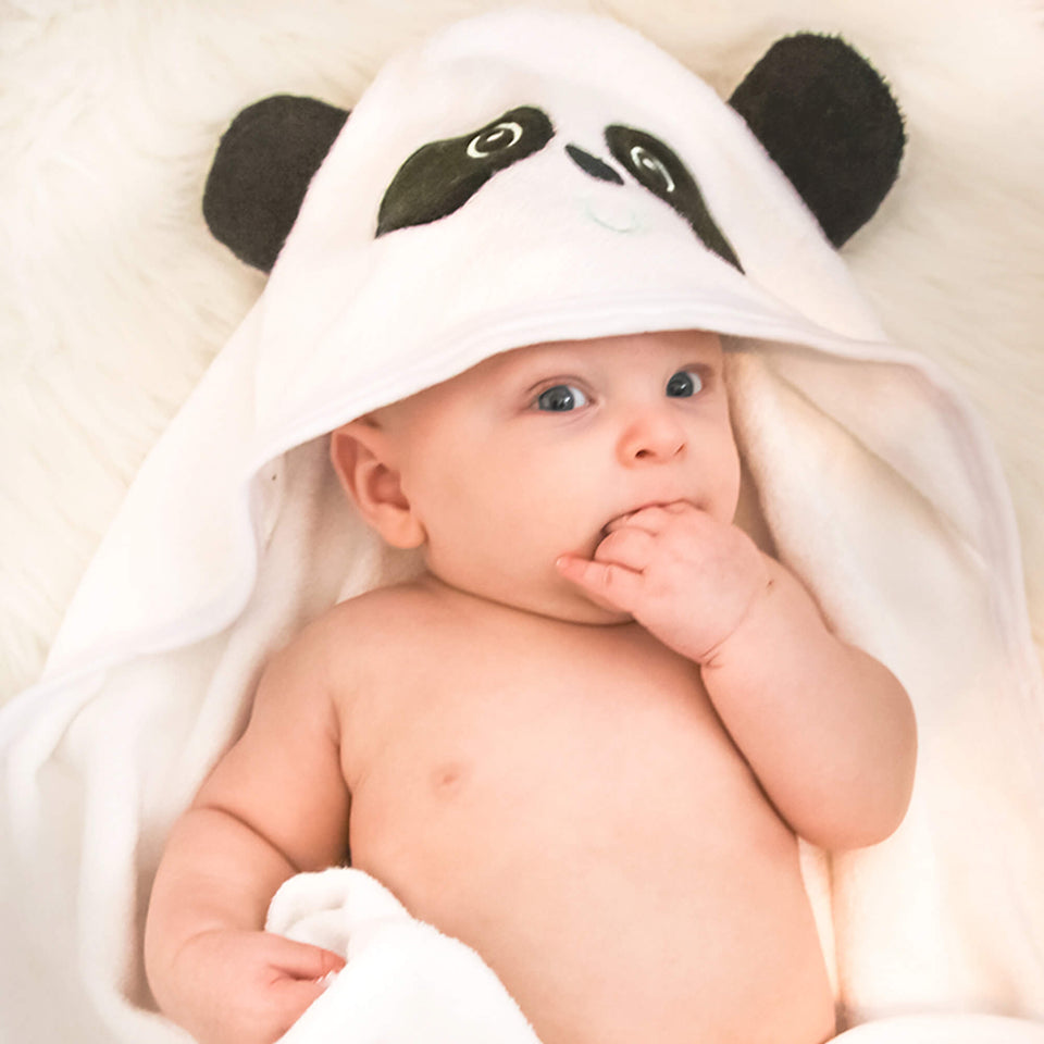 Baby Hooded Towel Set - Panda (Includes Washcloth & Laundry Bag)