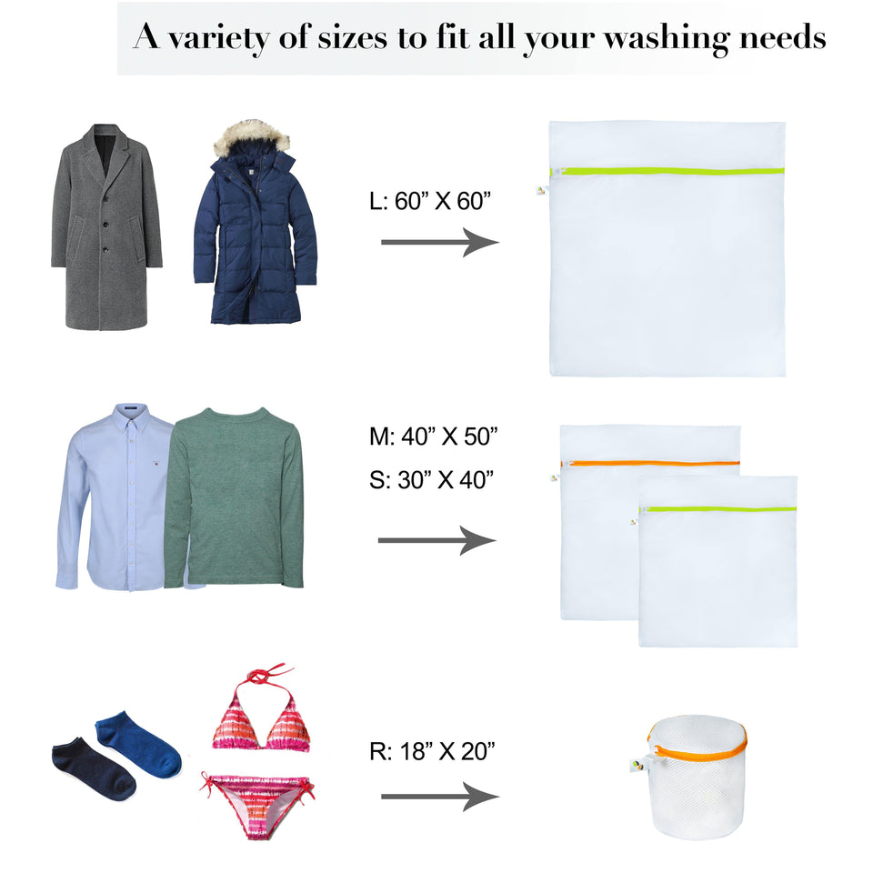 Different sizes of mesh laundry bags