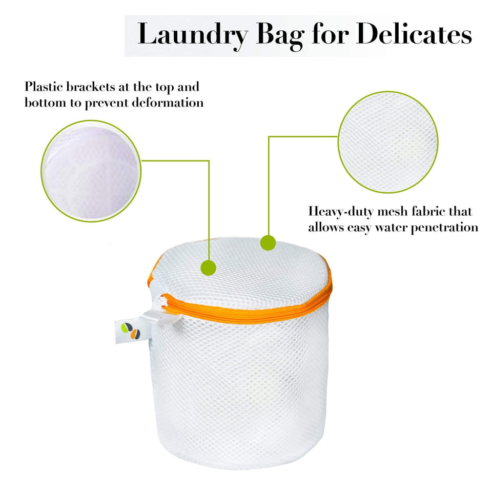 Jumpy Moo's Premium Mesh Laundry Bag (2 Large, 2 Round, 1 Medium, And 1 Small - Orange & Green)