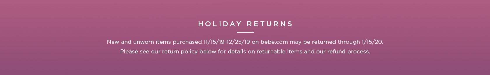 holiday returns