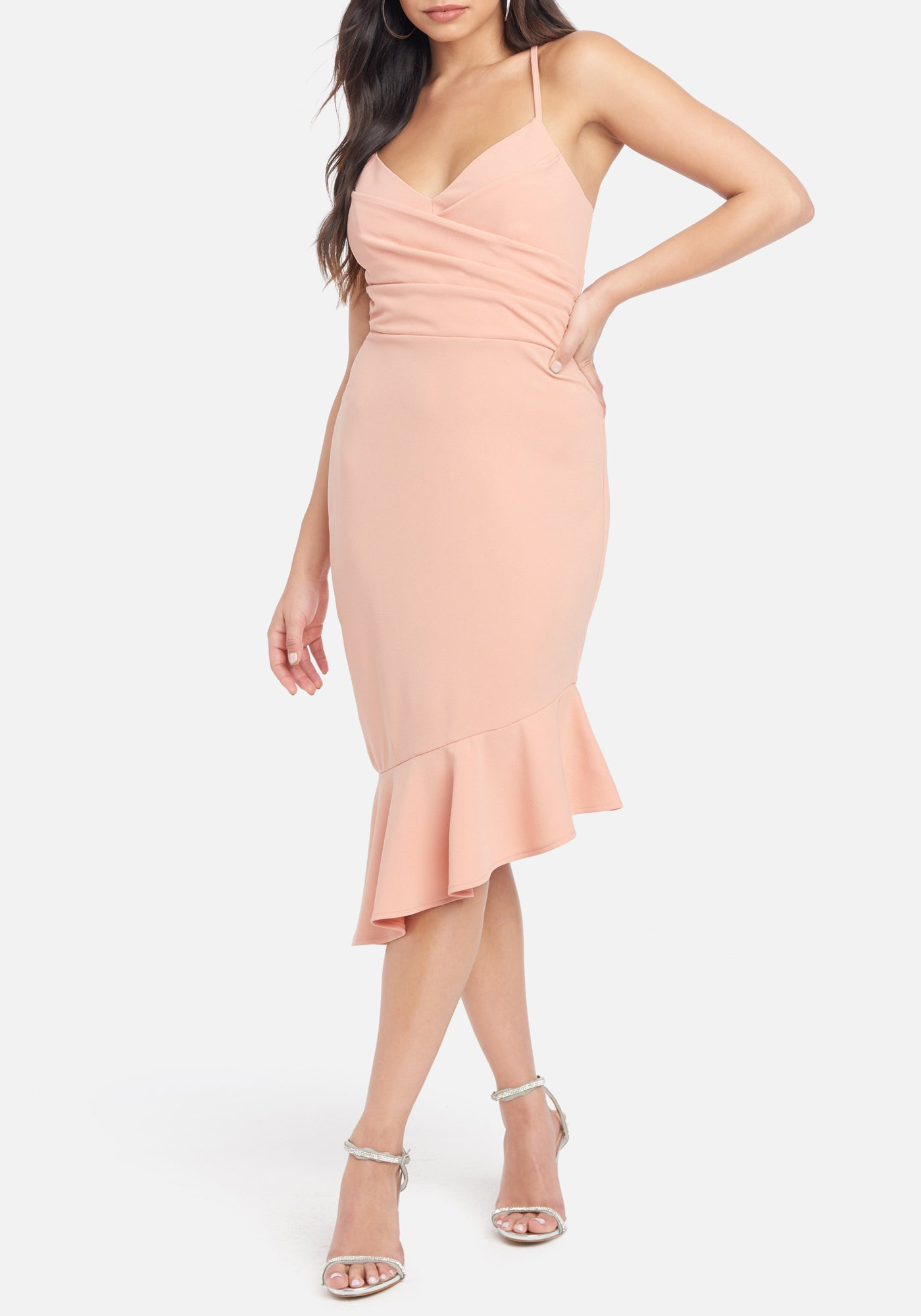 Bebe Women's Angled Flounce Midi Dress, Size XS in Sand Polyester