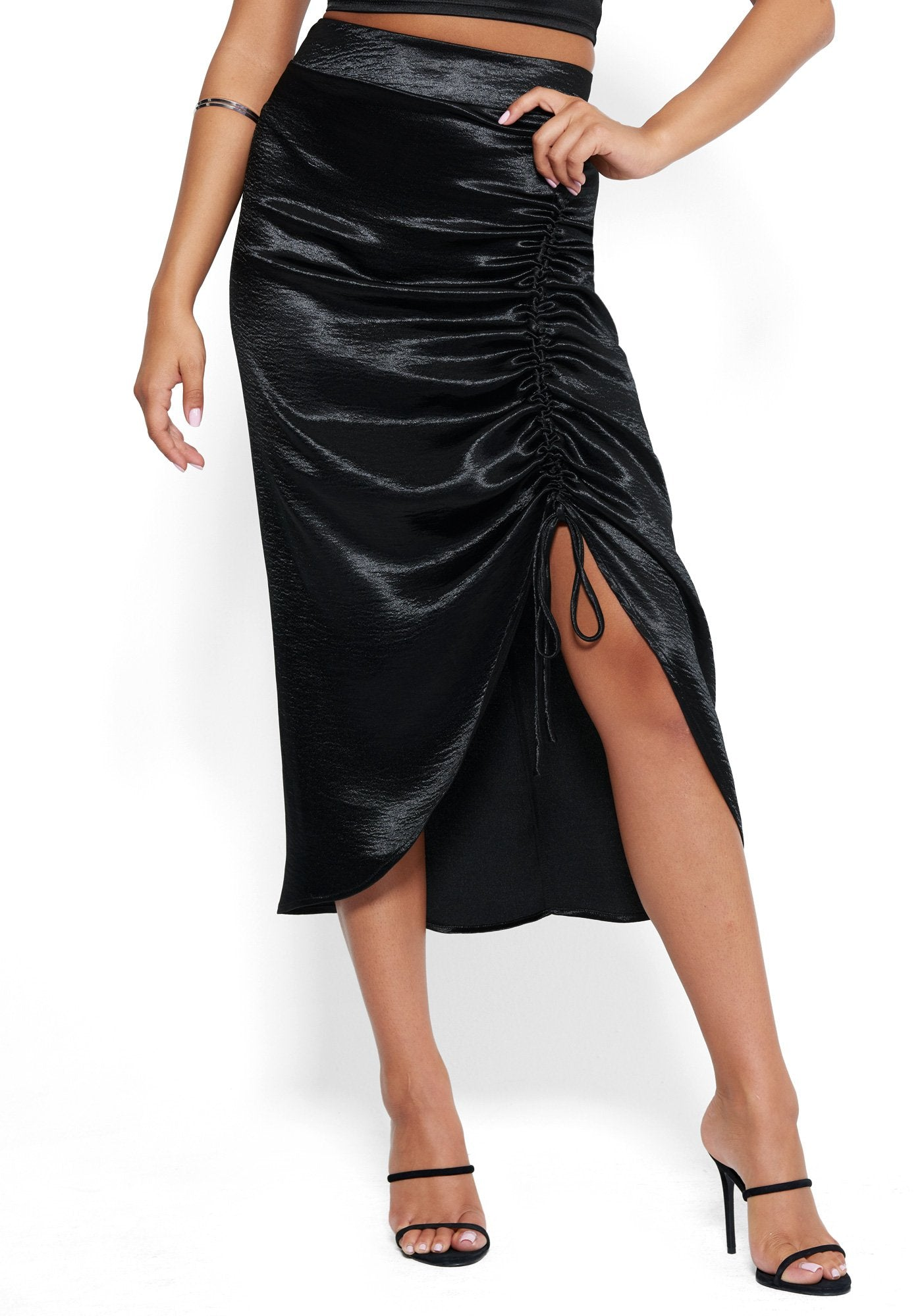 Bebe Women's Satin Ruched Midi Skirt, Size 00 in Black Polyester