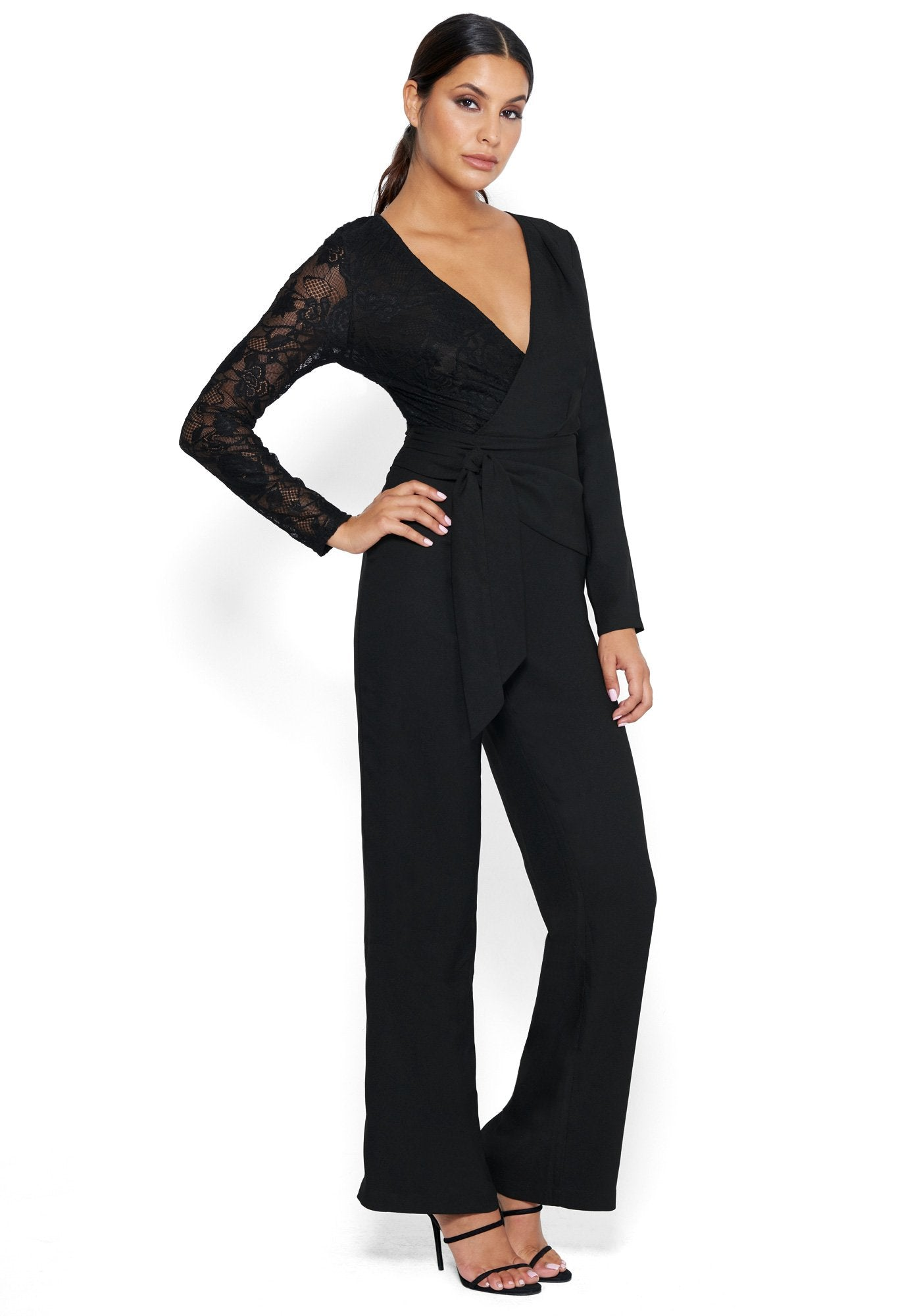 Bebe Women's Mixed Wrap Jumpsuit, Size 00 in Black Polyester/Nylon