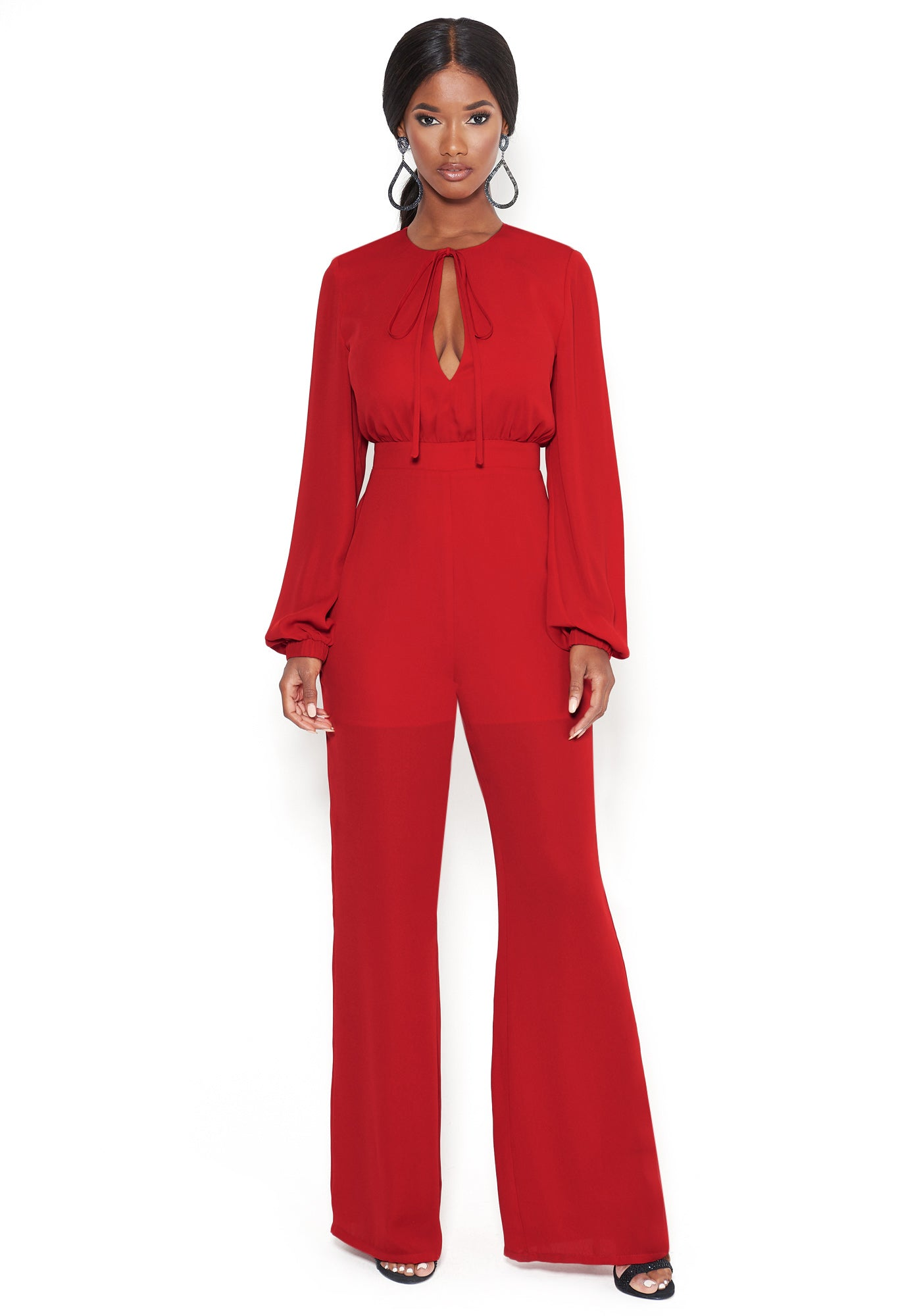 Bebe Women's Long Sleeve Tie Front Jumpsuit, Size 00 in BARBADOS CHERRY