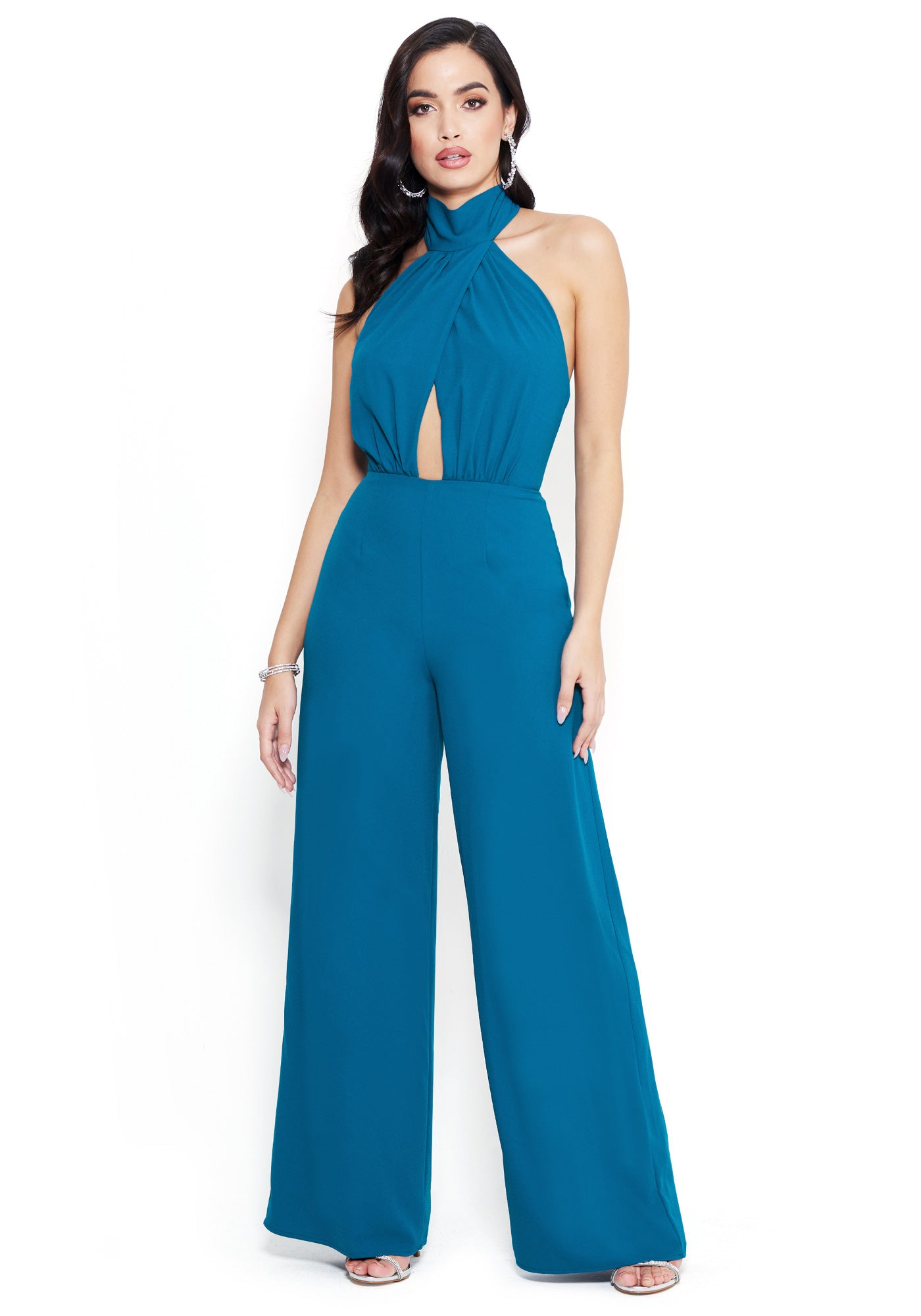 Bebe Women's Keyhole Halter Jumpsuit, Size 00 in MOROCCAN BLUE Polyester