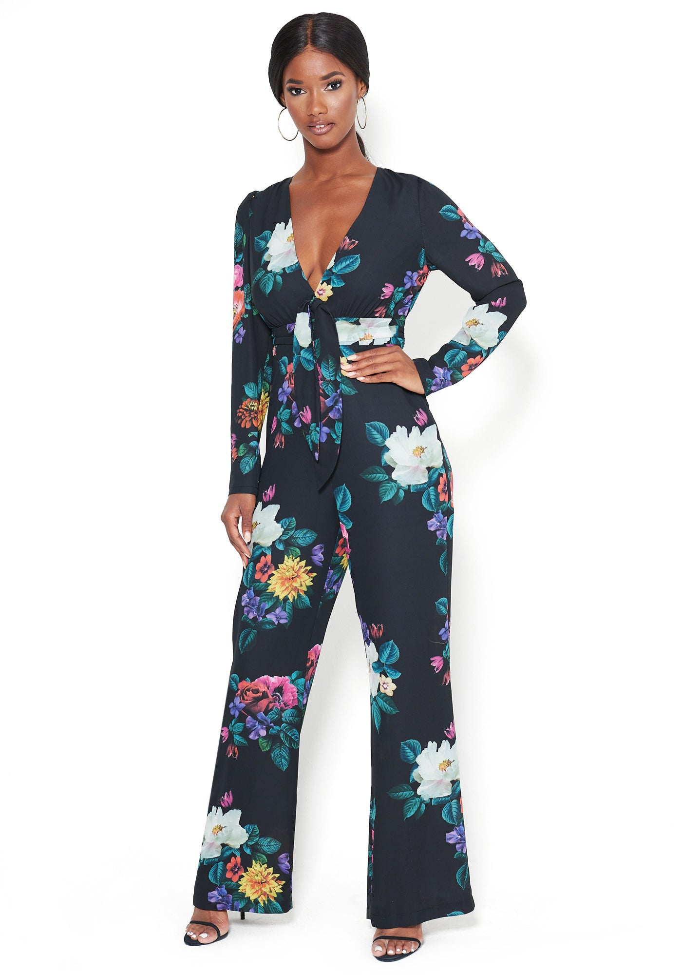 Bebe Women's Print Tie Waist Jumpsuit, Size 00 in Floral Polyester