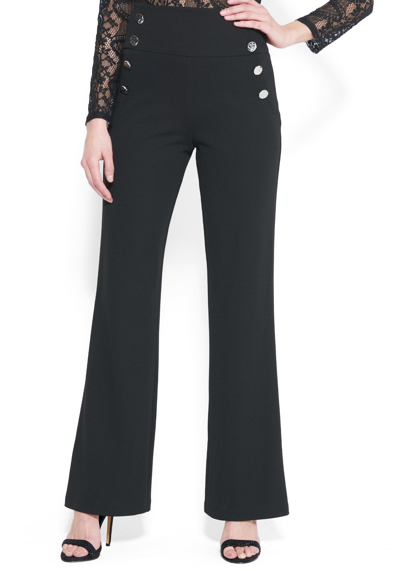 Bebe Women's High Waist Wide Leg Button Pant, Size 00 in BLACK Polyester