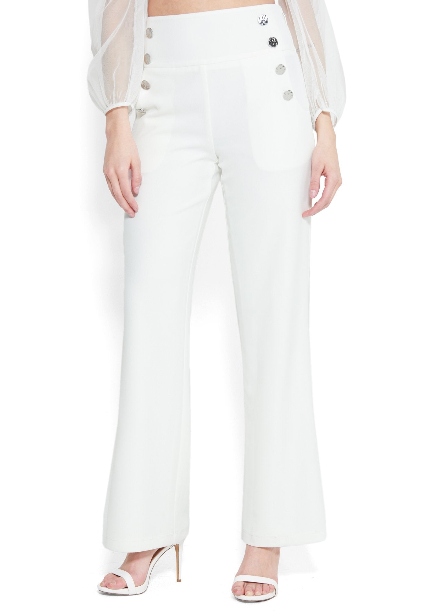Bebe Women's High Waist Wide Leg Button Pant, Size 00 in PRISTINE Polyester