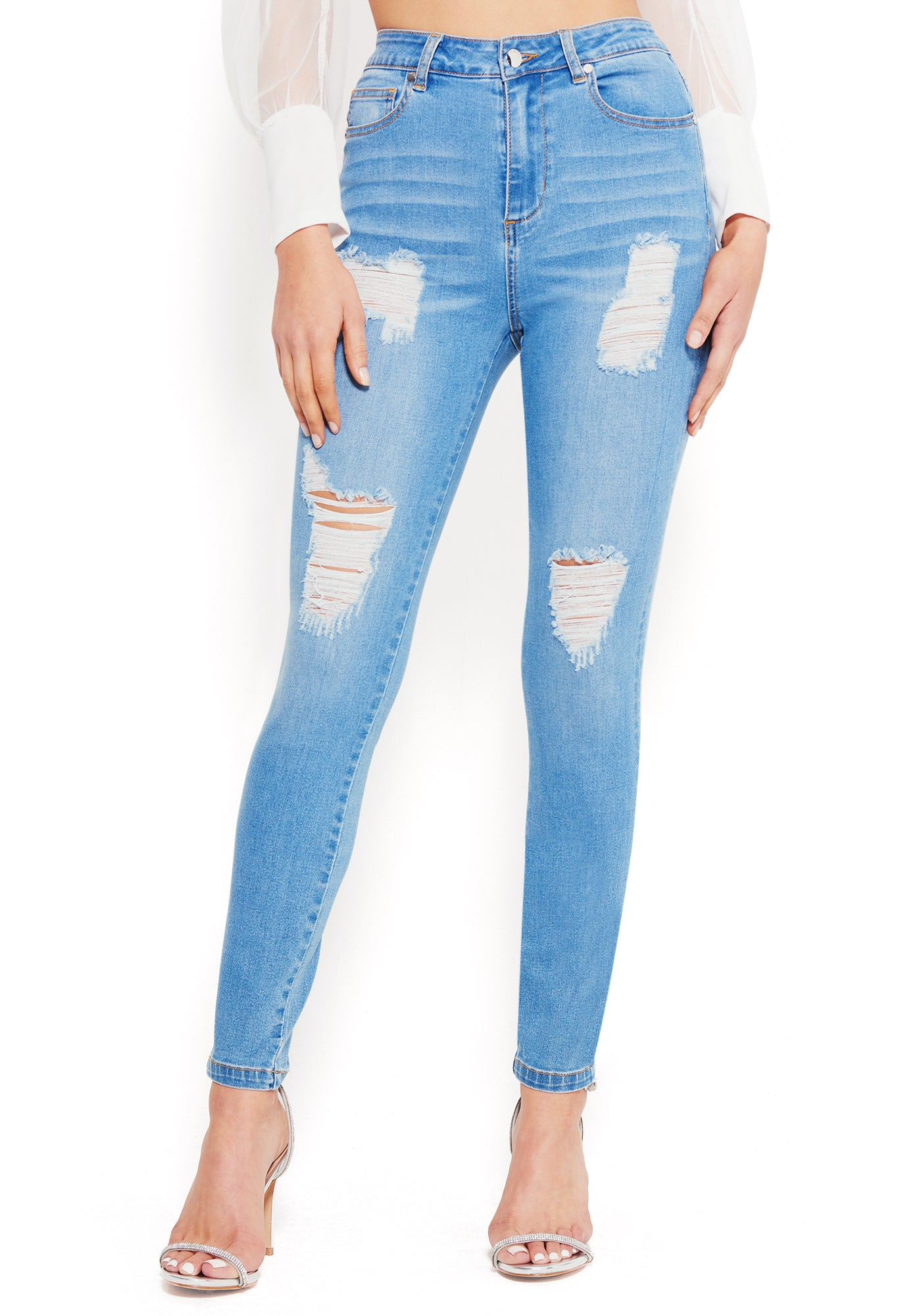 Bebe Women's Destructed Skinny Jeans, Size 25 in Light Blue Wash Cotton/Spandex