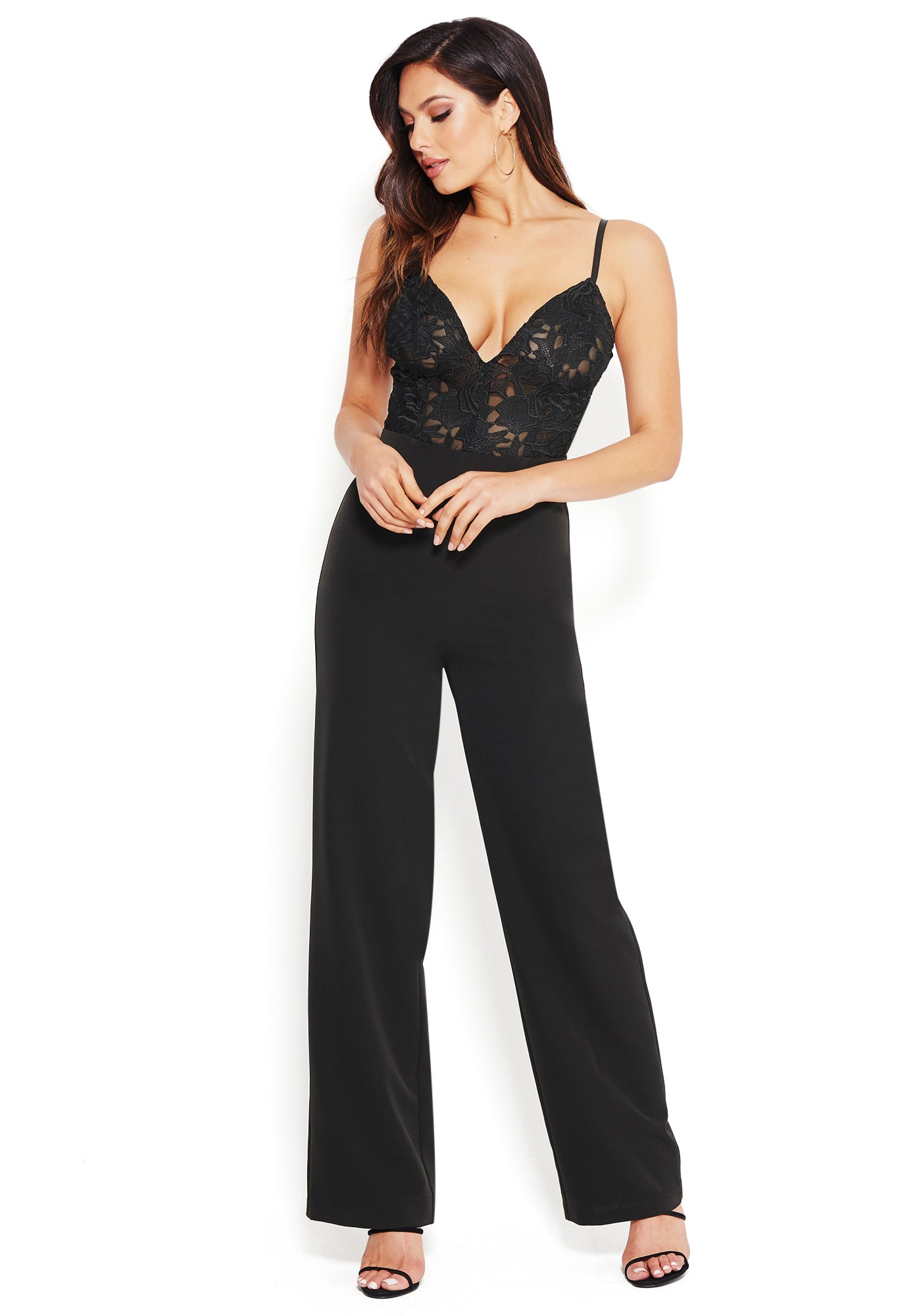 Bebe Women's Embroidered Lace Jumpsuit, Size 00 in Black