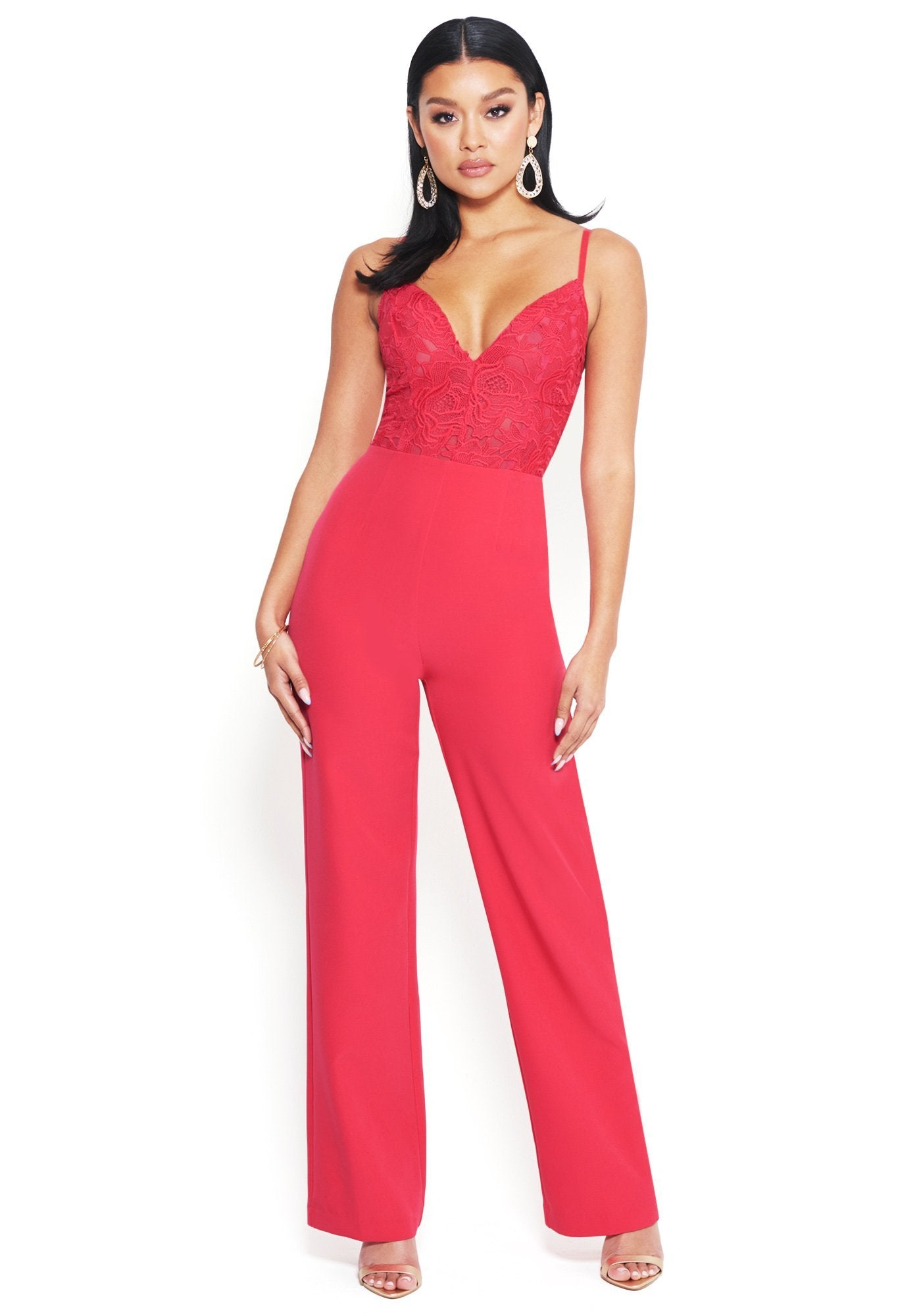 Bebe Women's Embroidered Lace Jumpsuit, Size 00 in Love Potion