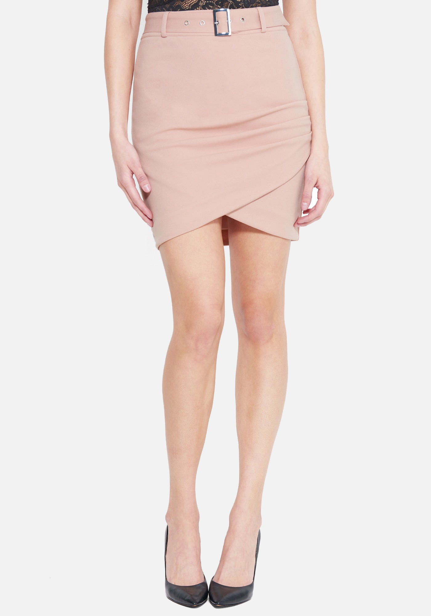 Bebe Women's Belted Wrap Skirt, Size 00 in CAMEO ROSE Polyester