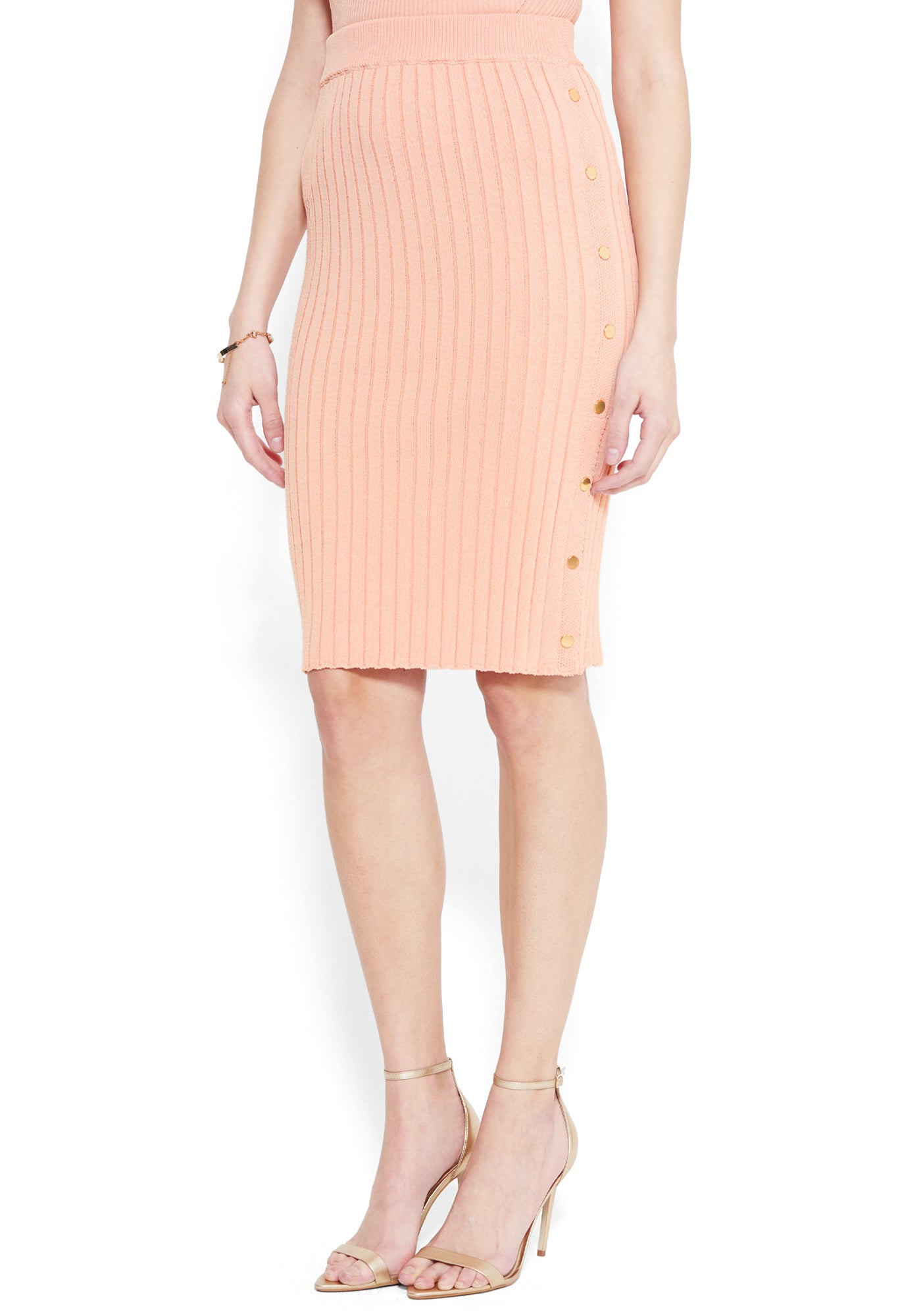 Bebe Women's Isla Side Slit Skirt, Size XXS in CAMEO ROSE Viscose