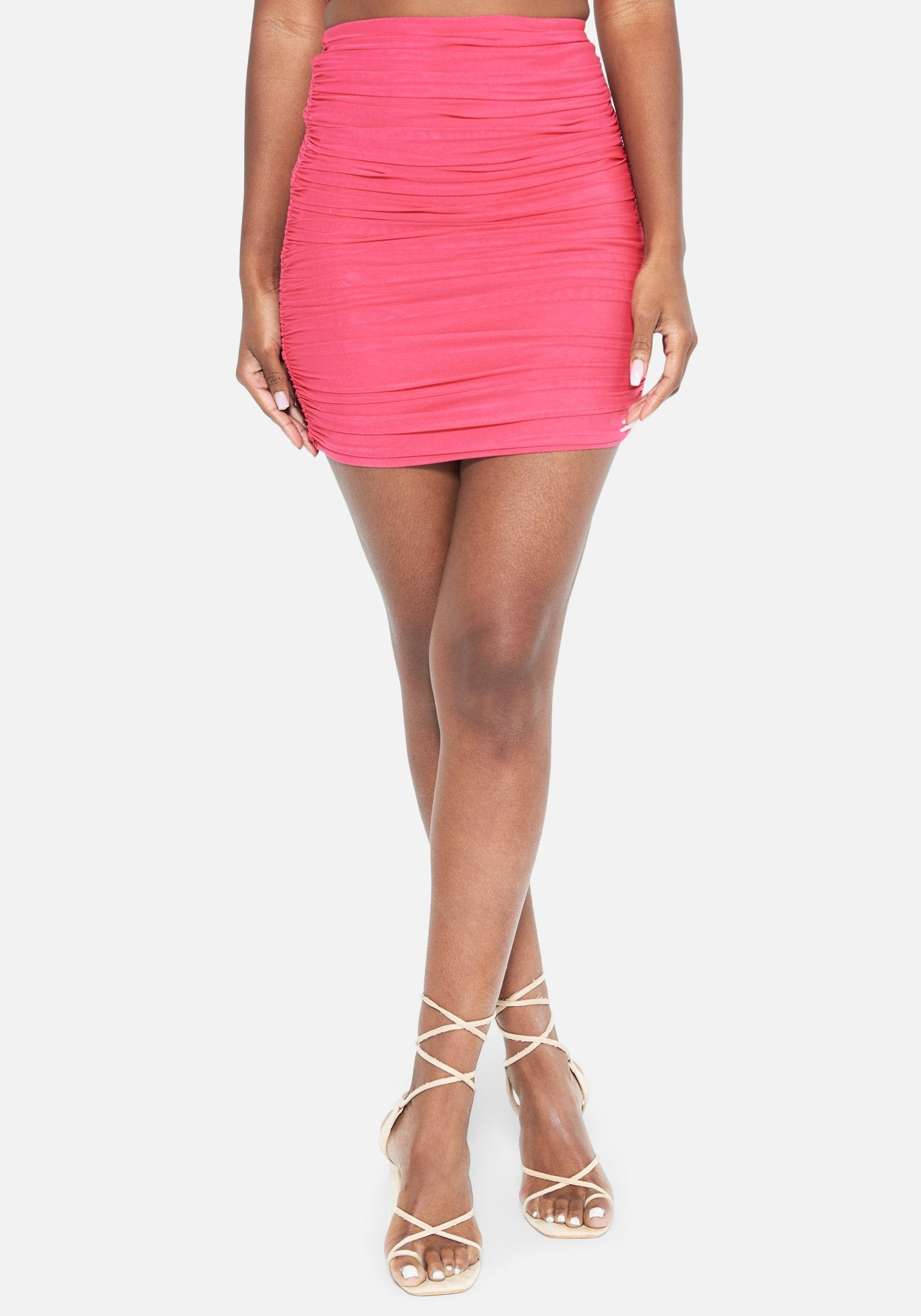 Bebe Women's Eden Ruched Mesh Skirt, Size XXS in Beet Root Spandex