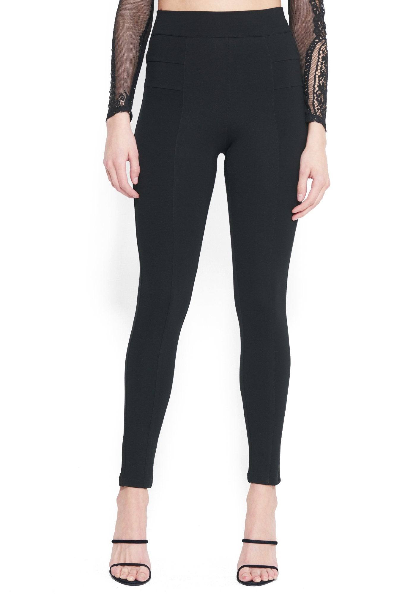 Bebe Women's Back Lacing Butt Lift Legging, Size XXS in BLACK Spandex/Nylon