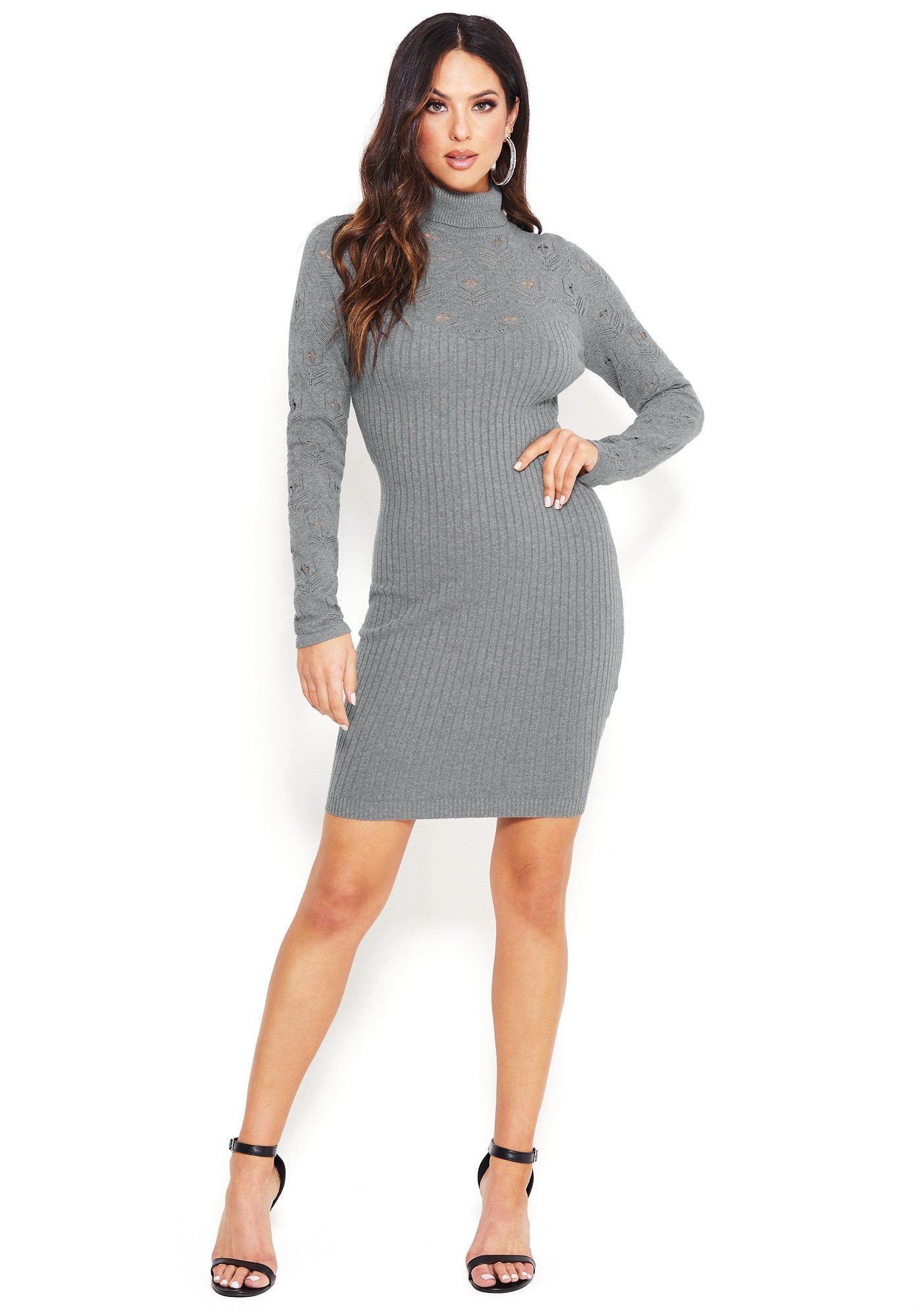 Image of Bebe Women's Lace Sweater Dress, Size XS in HEATHER GRAY