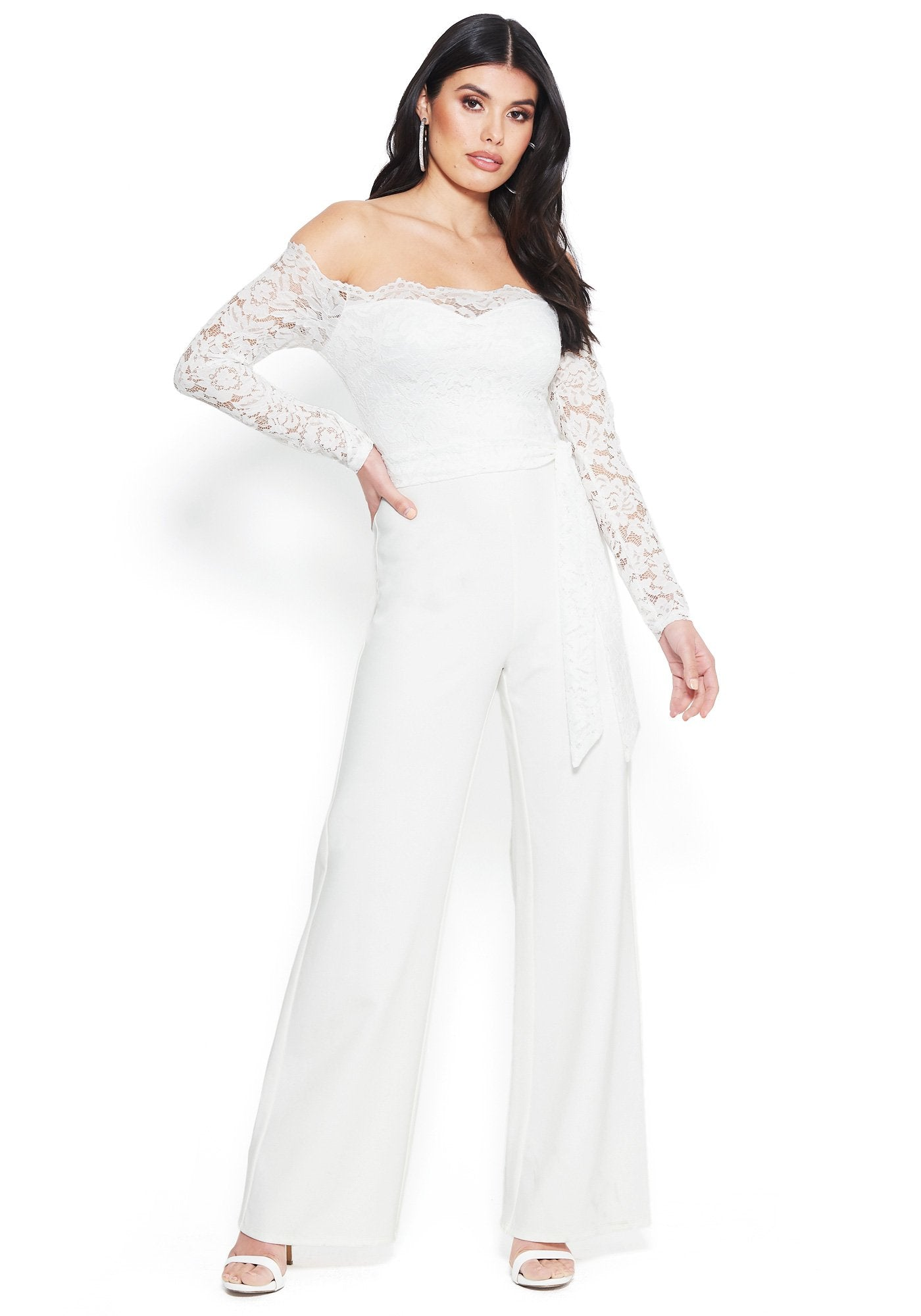 Bebe Women's Lace Off Shoulder Jumpsuit, Size 00 in BRIGHT WHITE Spandex