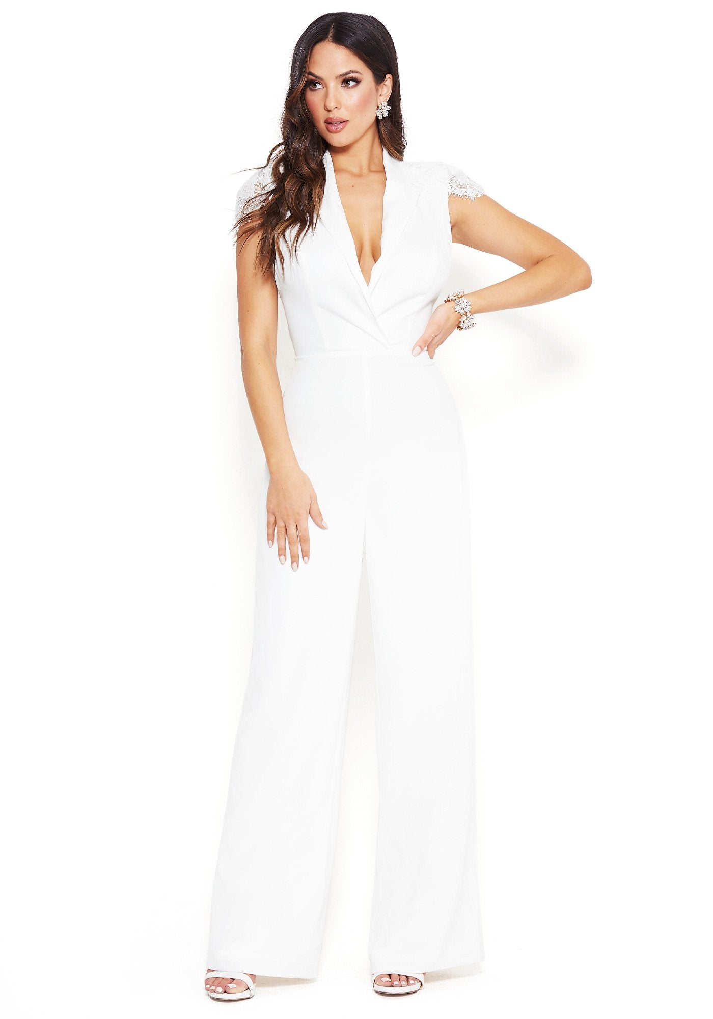 Bebe Women's Lace Capelet Jumpsuit, Size 00 in BRIGHT WHITE