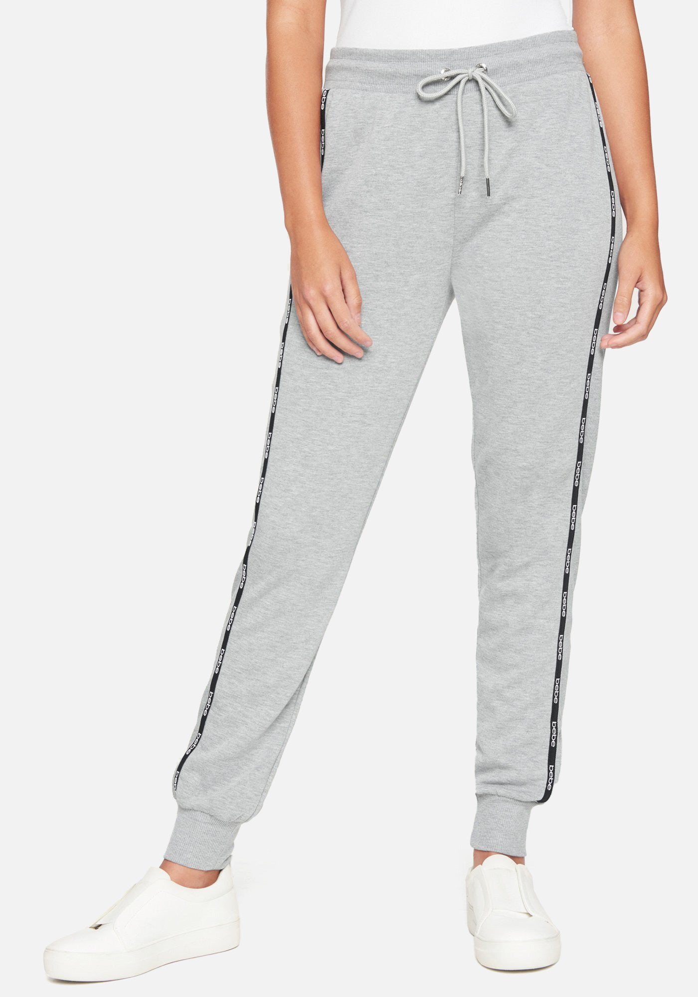 Bebe Women's Logo Heathered Jogger Pant, Size Small in Heather Grey Spandex