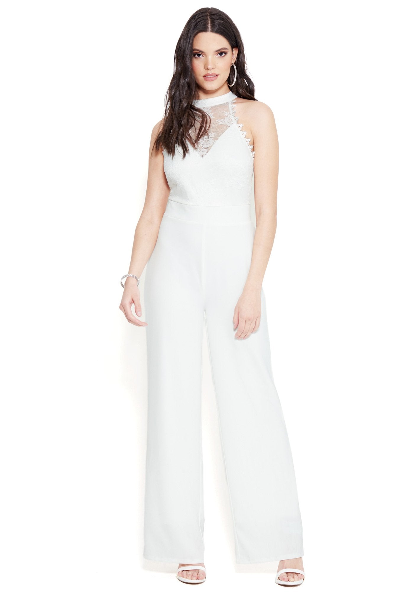 Bebe Women's Lace And Ponte Jumpsuit, Size XXS in BRIGHT WHITE Spandex