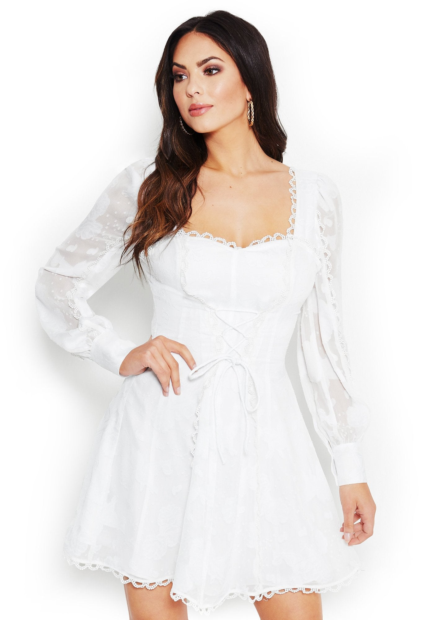 Bebe Women's Charlize Long Sleeve Lace-Up Dress, Size 00 in BRIGHT WHITE Polyester