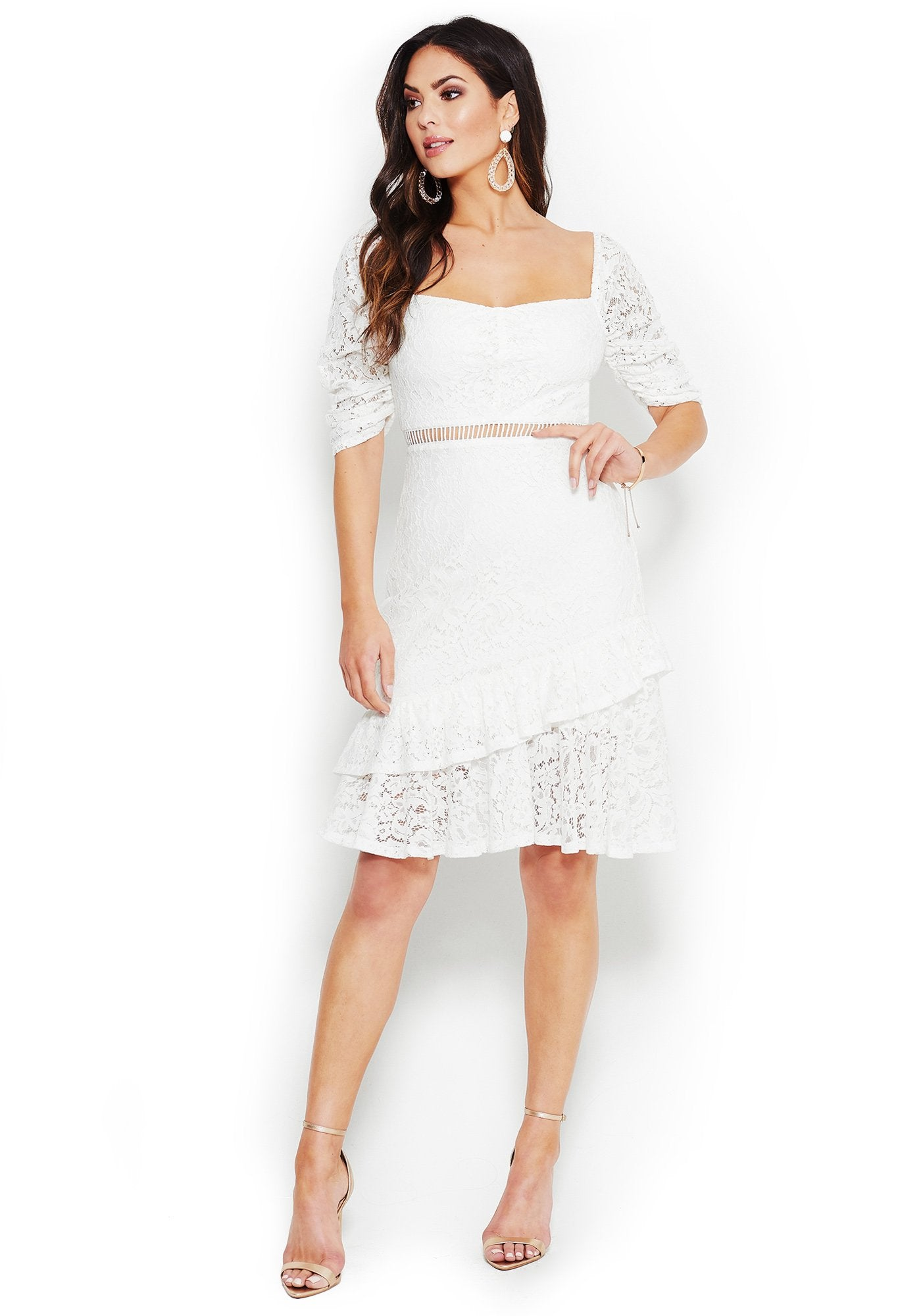 Bebe Women's Lace Off Shoulder Dress, Size XXS in BRIGHT WHITE Polyester