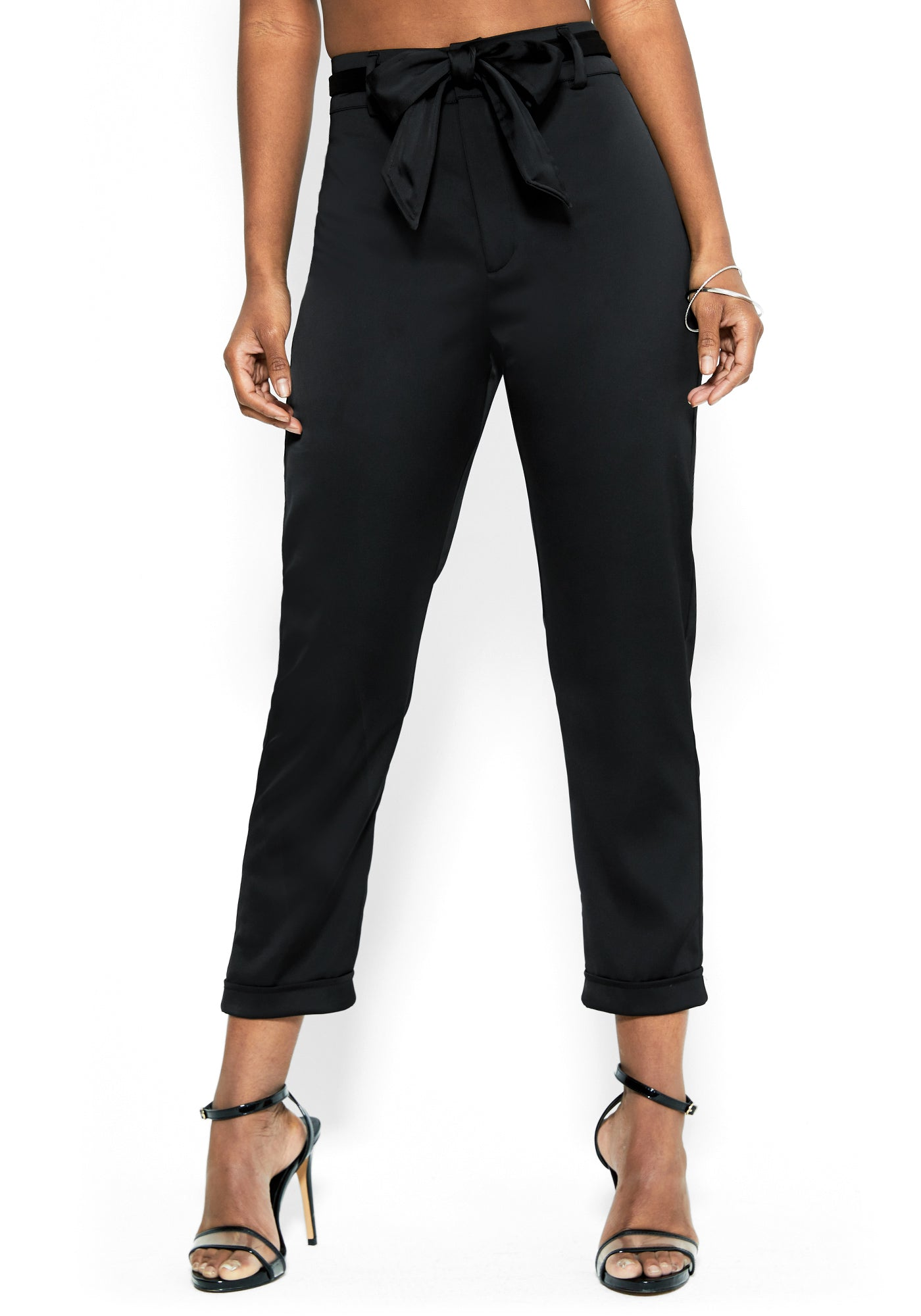Bebe Women's Stretch Satin Bow Waist Trouser, Size 00 in BLACK Polyester