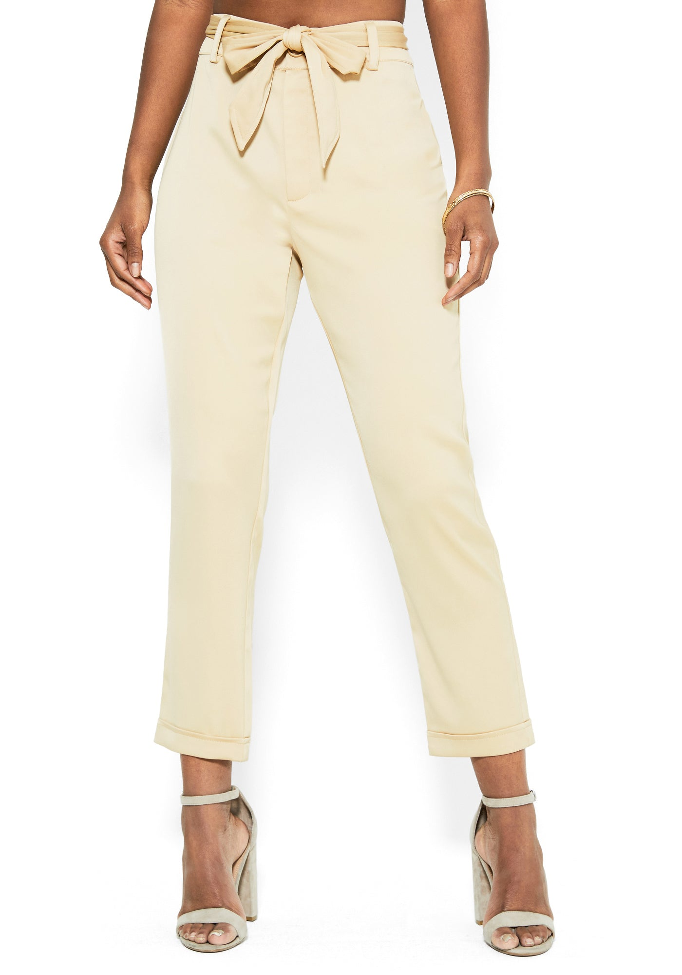 Bebe Women's Stretch Satin Bow Waist Trouser, Size 00 in SESAME Polyester