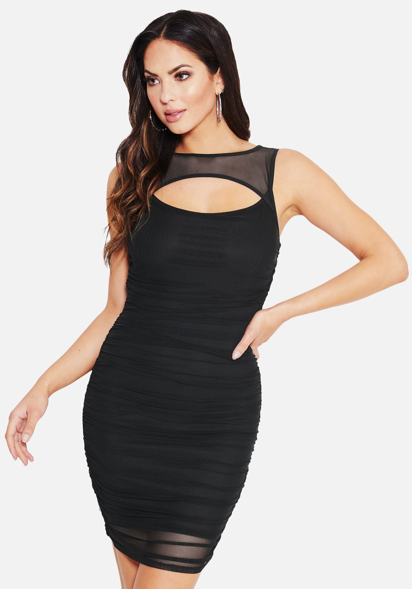 Bebe Women's Front Cutout Ruched Mini Dress, Size XXS in BLACK Spandex