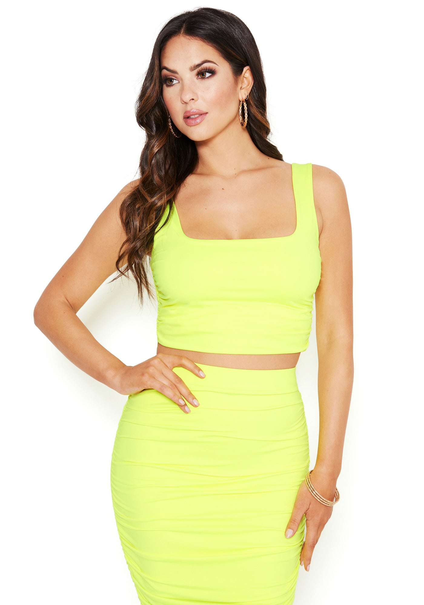 Image of Bebe Women's Disco Knit Crop Tops, Size XS in YELLOW NEON Spandex