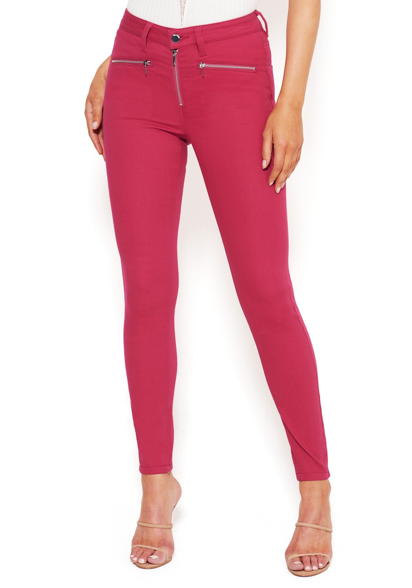 Bebe Women's Moto Slim Fit Skinny Jeans, Size 25 in CABARET Cotton/Spandex