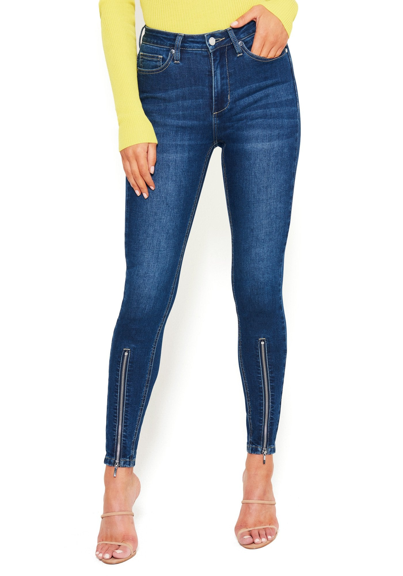 Bebe Women's Zipper Detail Skinny Jeans Denim, Size 25 in MED INDIGO WASH Cotton/Spandex
