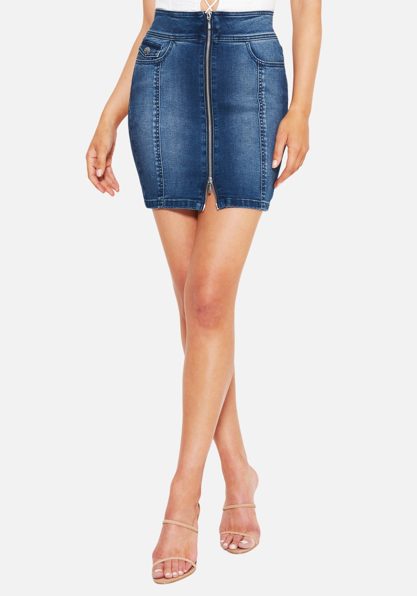 Bebe Women's Mini Zip Front Jean Skirt, Size 25 in MED BLUE WASH Cotton/Spandex