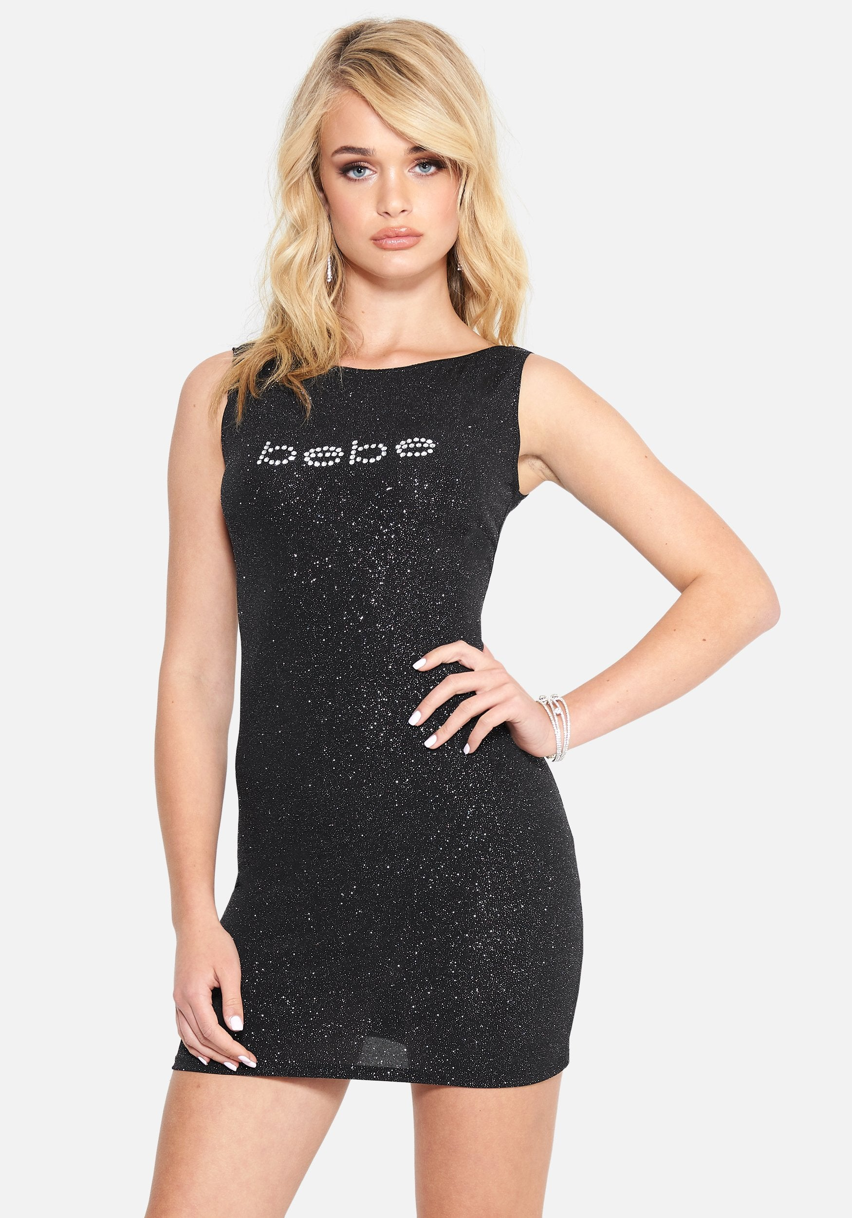 Bebe Women's Glitter Logo Sleevless Dress, Size XXS in Black Spandex